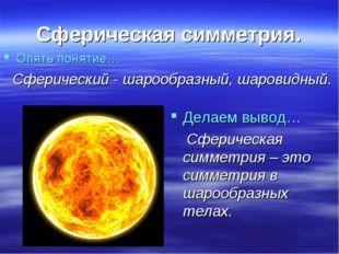 Сферическая симметрия. Опять понятие… Сферический - шарообразный, шаровидный.
