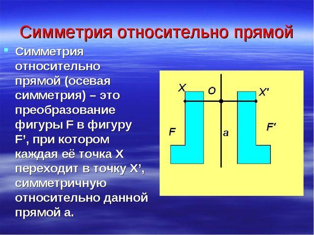 Симметрия относительно прямой Симметрия относительно прямой (осевая симметрия...