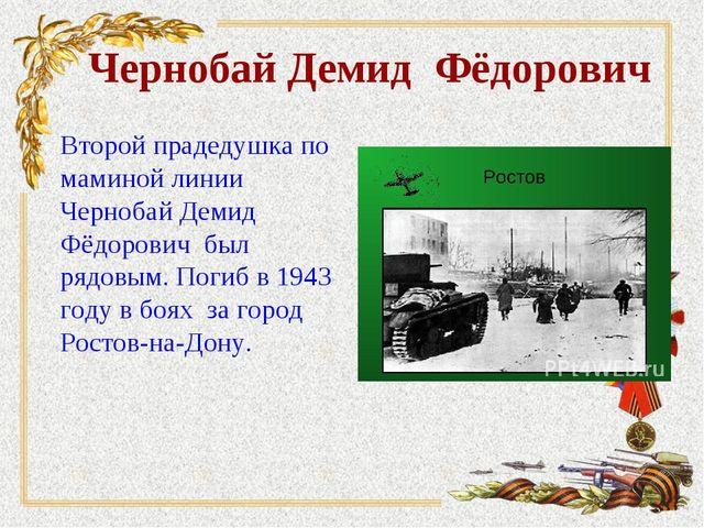 Чернобай Демид Фёдорович Второй прадедушка по маминой линии Чернобай Демид Фё...