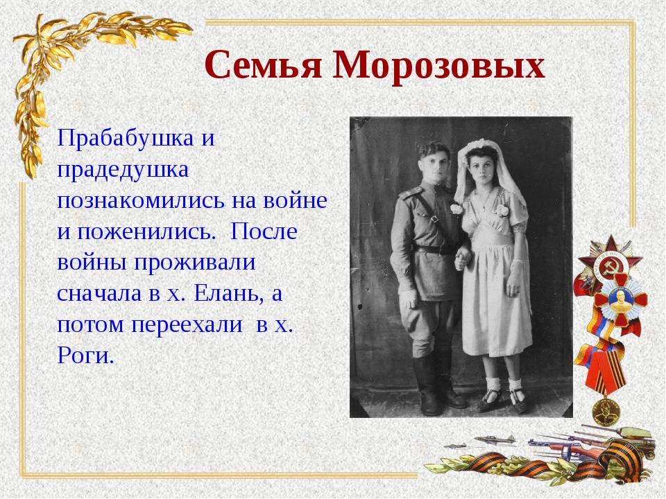Семья Морозовых Прабабушка и прадедушка познакомились на войне и поженились....