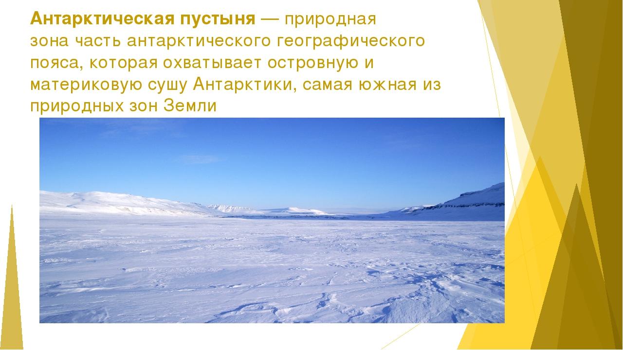 Антарктическая пустыня—природная зоначасть антарктического географического...