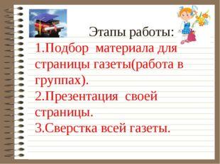 Этапы работы: 1.Подбор материала для страницы газеты(работа в группах). 2.Пр