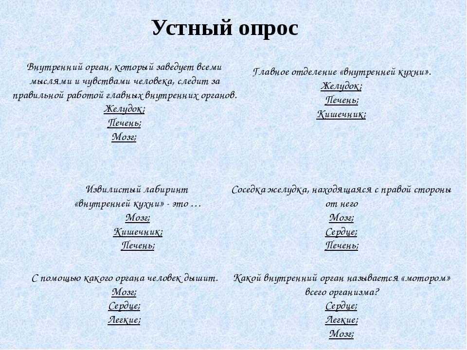Устный опрос Извилистый лабиринт «внутренней кухни» - это … Мозг; Кишечник; П...