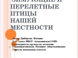 ЗИМУЮЩИЕ И ПЕРЕЛЕТНЫЕ ПТИЦЫ НАШЕЙ МЕСТНОСТИ Автор: Дибирова Фатима 2 «б» кла