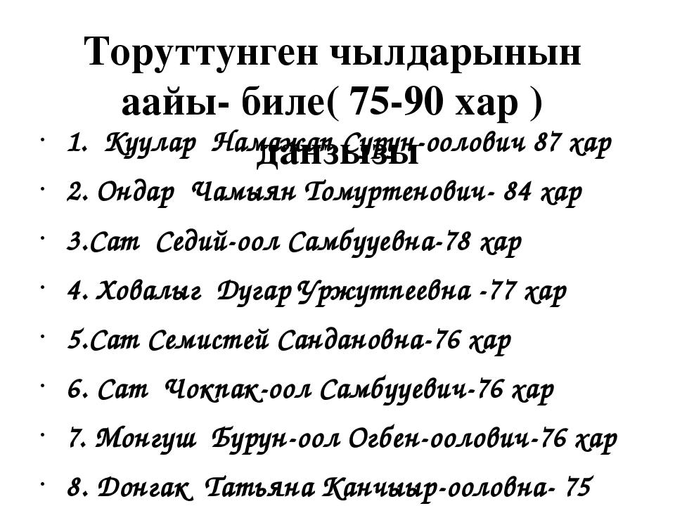 Торуттунген чылдарынын аайы- биле( 75-90 хар ) данзызы 1. Куулар Намажап Суру...