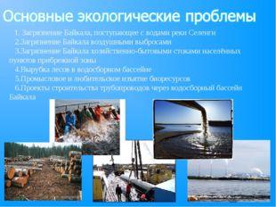 1. Загрязнение Байкала, поступающее с водами реки Селенги 2.Загрязнение Байк
