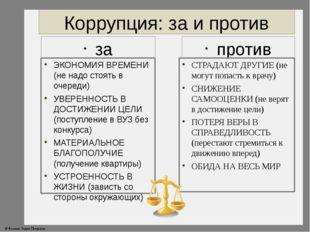 Коррупция: за и против за ЭКОНОМИЯ ВРЕМЕНИ (не надо стоять в очереди) УВЕРЕНН
