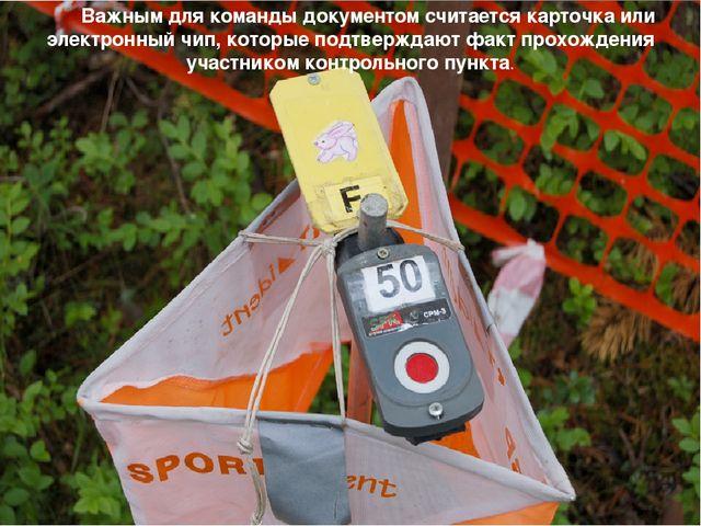Важным для команды документом считается карточка или электронный чип, которы...