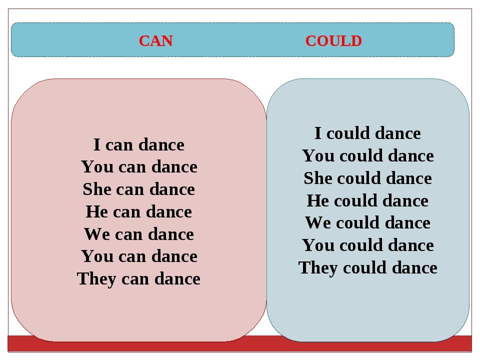 I can dance You can dance She can dance He can dance We can dance You can dan...