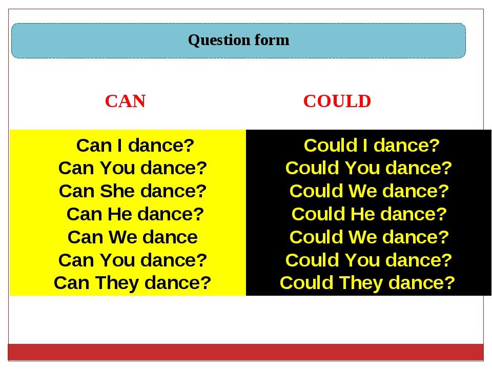 Can I dance? Can You dance? Can She dance? Can He dance? Can We dance Can Yo...