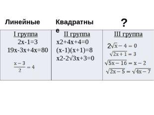2 Линейные Квадратные ? Iгруппа 2х-1=3 19х-3х+4х=80 IIгруппа х2+4х+4=0 (х-1)(