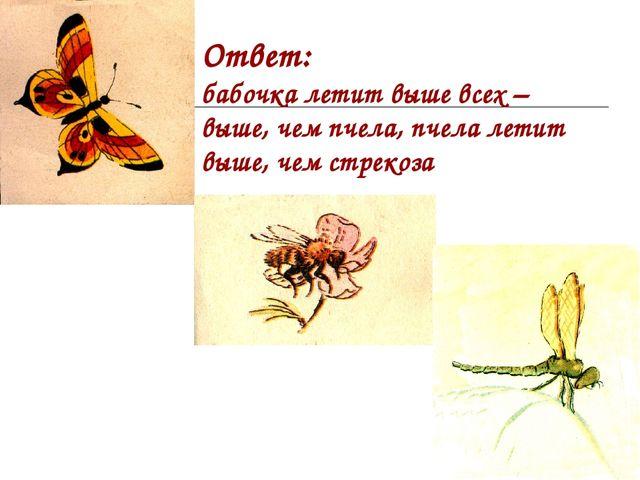Ответ: бабочка летит выше всех – выше, чем пчела, пчела летит выше, чем стрек...