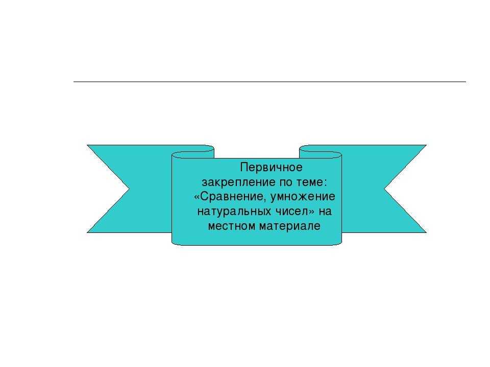 Первичное закрепление по теме: «Сравнение, умножение натуральных чисел» на м...