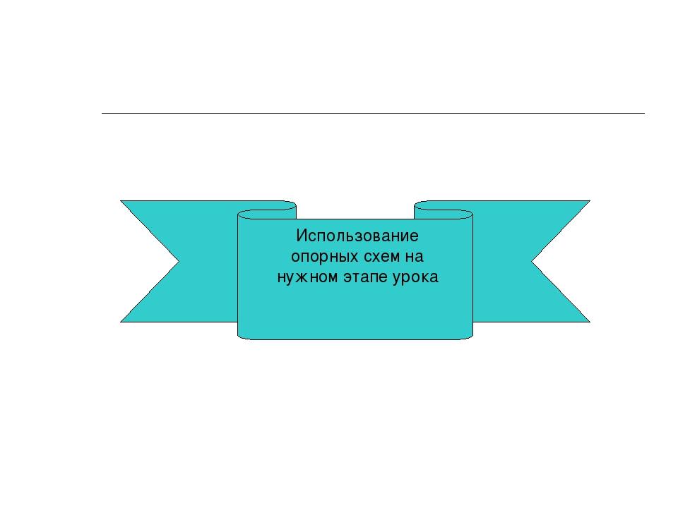 Использование опорных схем на нужном этапе урока
