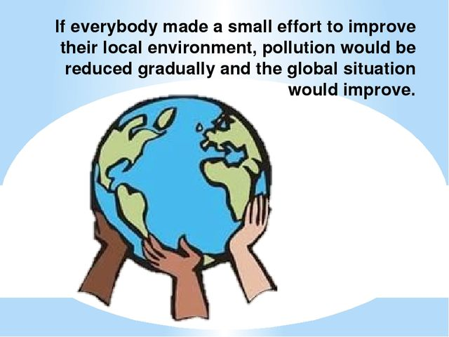 If everybody made a small effort to improve their local environment, pollutio...