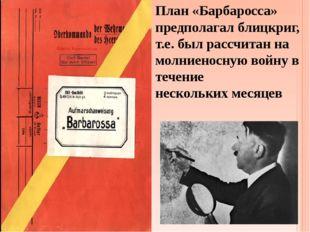 План «Барбаросса» предполагал блицкриг, т.е. был рассчитан на молниеносную во