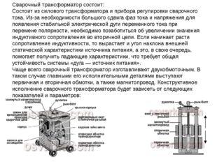 Сварочный трансформатор состоит: Состоит из силового трансформатора и прибора