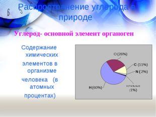 Распространение углерода в природе Углерод- основной элемент органоген Содер