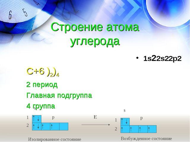 Строение атома углерода 1s22s22p2 С+6 )2)4 2 период Главная подгруппа 4 группа