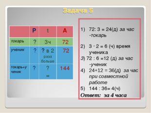 72: 3 = 24(д) за час -токарь 3 ∙ 2 = 6 (ч) время ученика 3) 72 : 6 =12 (д) з