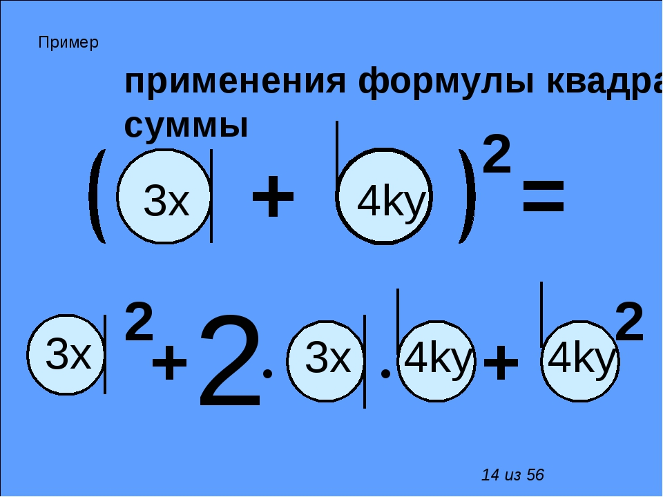 применения формулы квадрата суммы 2 • • + 2 + 2 + 2 = 3х 4kу 3x 3x 4kу 4kу П...
