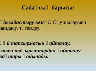 Сабақтың барысы: І.Ұйымдастыру кезеңі: Оқушылармен амандасу, түгендеу. ІІ. Үй
