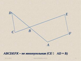 30.11.2012 www.konspekturoka.ru * C D B E F A ABCDEFK – не многоугольник (СЕ