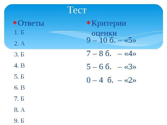 Тест Ответы 1. Б 2. А 3. Б 4. В 5. Б 6. В 7. Б 8. А 9. Б 10. В Критерии оценк...