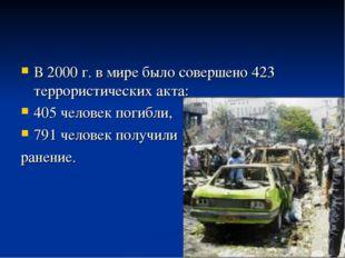 В 2000 г. в мире было совершено 423 террористических акта: 405 человек погибл