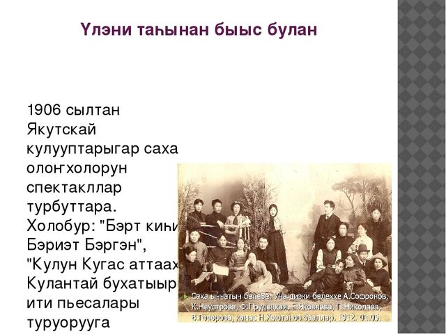 Үлэни таһынан быыс булан 1906 сылтан Якутскай кулууптарыгар саха олоҥхолорун...