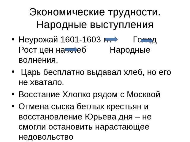 Экономические трудности. Народные выступления Неурожай 1601-1603 гг. Голод Ро...