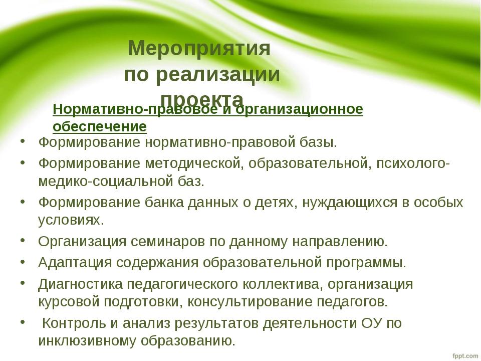 Мероприятия по реализации проекта Нормативно-правовое и организационное обесп...