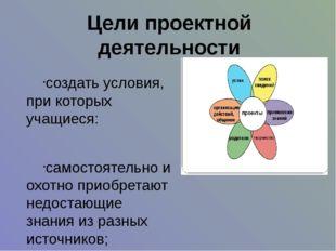 Цели проектной деятельности создать условия, при которых учащиеся: самостояте