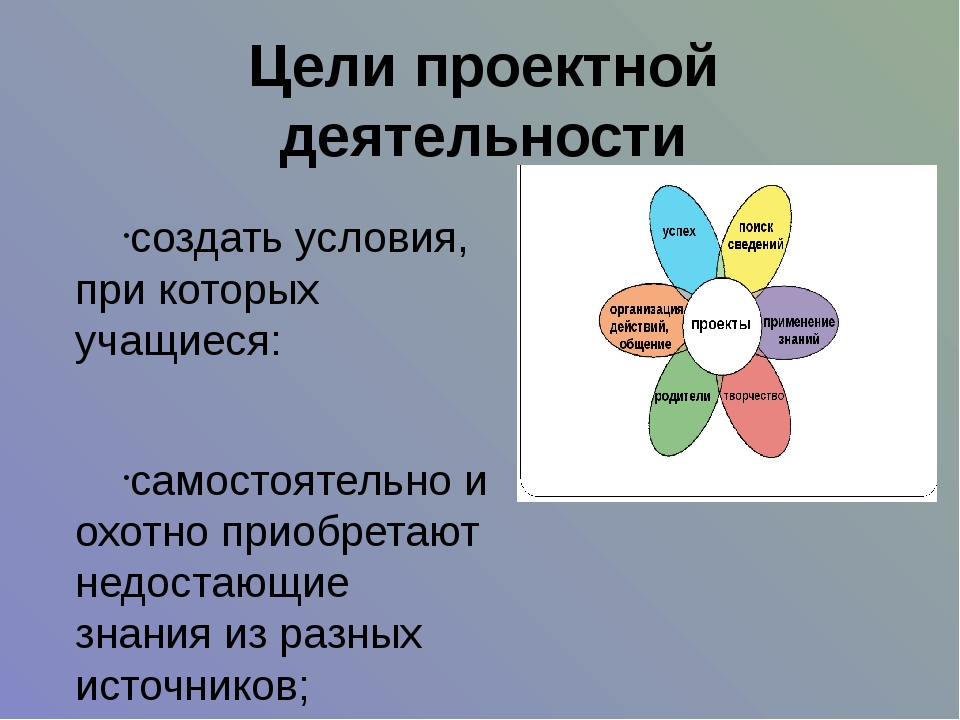 Цели проектной деятельности создать условия, при которых учащиеся: самостояте...