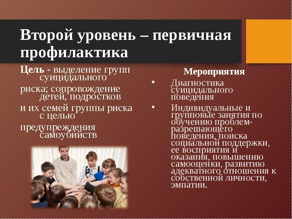Второй уровень – первичная профилактика Цель - выделение групп суицидального...
