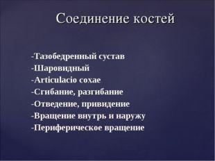 -Тазобедренный сустав -Шаровидный -Articulacio coxae -Сгибание, разгибание -О