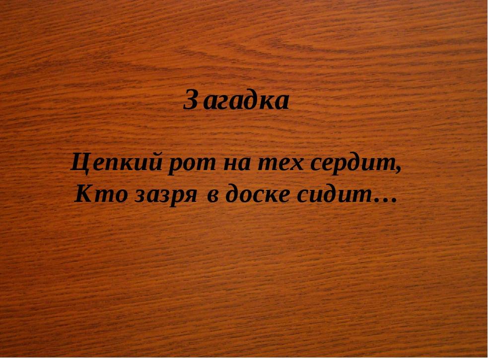 Загадка Цепкий рот на тех сердит, Кто зазря в доске сидит…