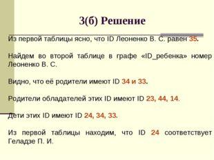 3(б) Решение Из первой таблицы ясно, что ID Леоненко В. С. равен 35. Найдем в