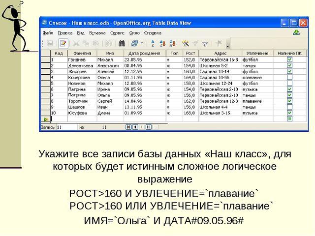 Укажите все записи базы данных «Наш класс», для которых будет истинным сложно...