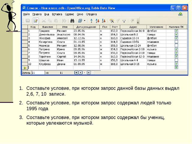 Составьте условие, при котором запрос данной базы данных выдал 2,6, 7, 10 зап...