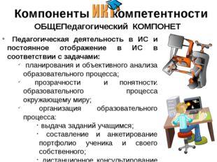 Компоненты - компетентности ОБЩЕПедагогический КОМПОНЕТ Педагогическая деят