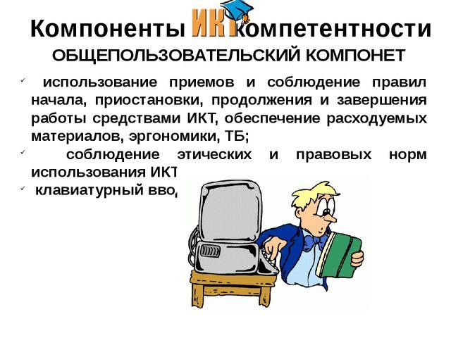 Компоненты - компетентности ОБЩЕПОЛЬЗОВАТЕЛЬСКИЙ КОМПОНЕТ использование при...