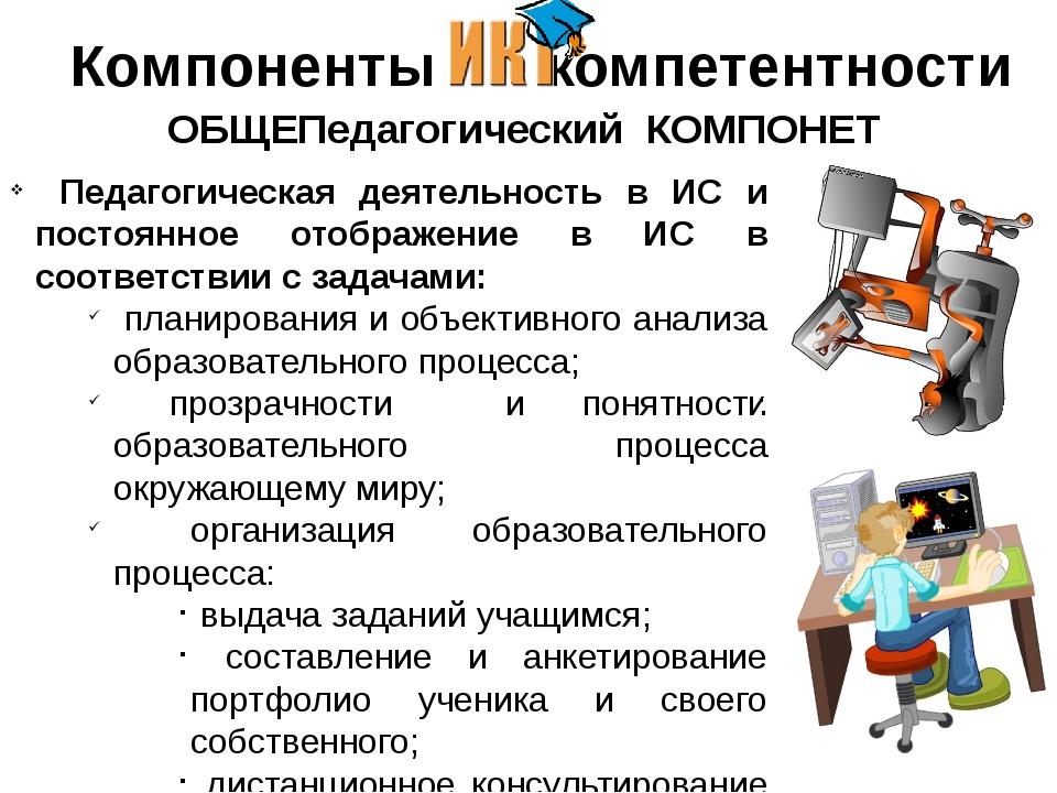 Компоненты - компетентности ОБЩЕПедагогический КОМПОНЕТ Педагогическая деят...