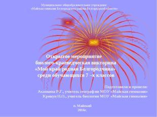 Муниципальное общеобразовательное учреждение «Майская гимназия Белгородского