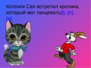 Котенок Can встретил кролика, который мог танцевать[l], [n], [s].