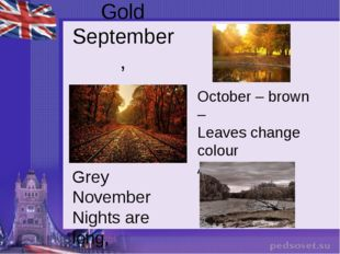 Gold September, October – brown – Leaves change colour And fall down. Grey No