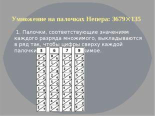 Умножение на палочках Непера: 3679135 1. Палочки, соответствующие значениям