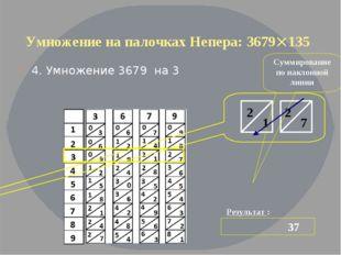 Умножение на палочках Непера: 3679135 4. Умножение 3679 на 3 Результат : 37