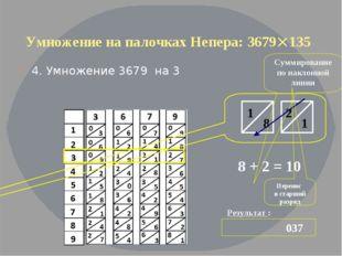 Умножение на палочках Непера: 3679135 4. Умножение 3679 на 3 Результат : 037