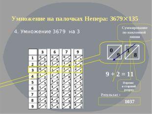 Умножение на палочках Непера: 3679135 4. Умножение 3679 на 3 Результат : 103